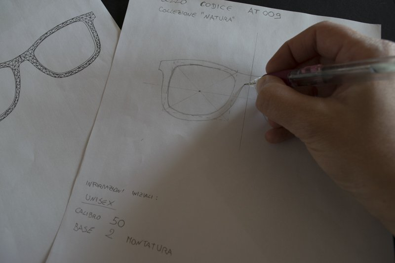 Azienda sostenibile - schizzo progetto occhiale