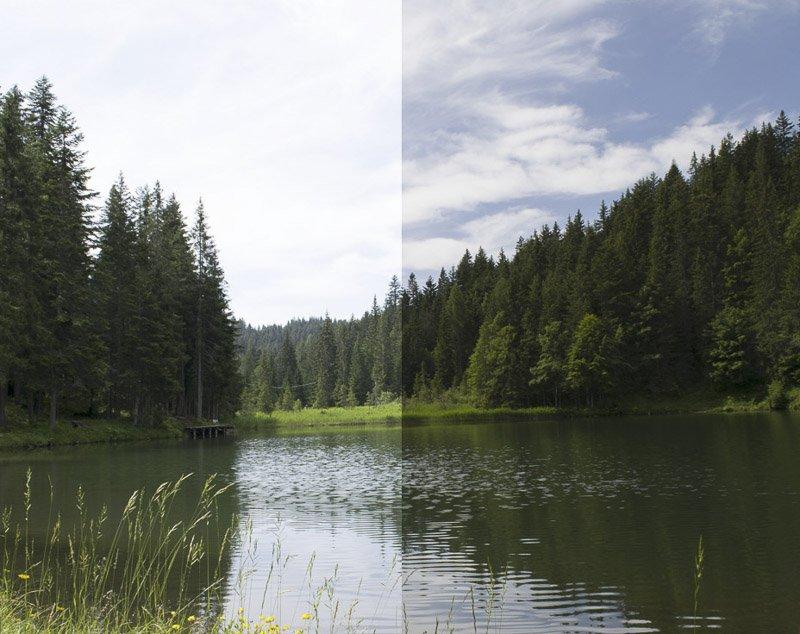 differenza della lente polarizzata sui riflessi di un lago e nel cielo